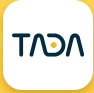 Se déplacer en VTC à Singapour. logo de l'App Tada. caracteres noirs sur dond blanc et point jaune.