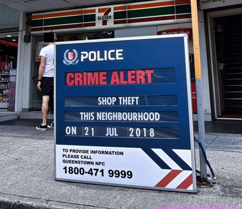 Panneau Crime Alert Singapour Shop Theft-Singapour Live